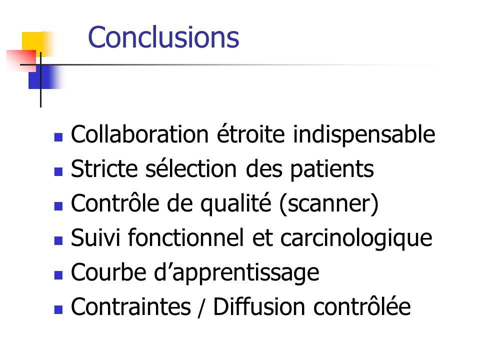 Conclusions Collaboration étroite indispensable Stricte sélection des patients Contrôle de qualité (scanner) Suivi fonctionnel et carcinologique Courb