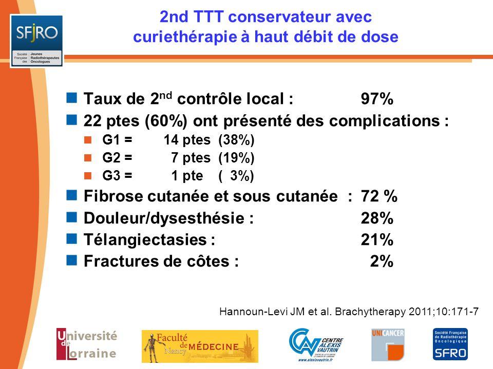2nd TTT conservateur avec curiethérapie à haut débit de dose Taux de 2 nd contrôle local :97% 22 ptes (60%) ont présenté des complications : G1 =14 pt