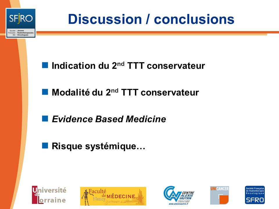 Discussion / conclusions Indication du 2 nd TTT conservateur Modalité du 2 nd TTT conservateur Evidence Based Medicine Risque systémique…