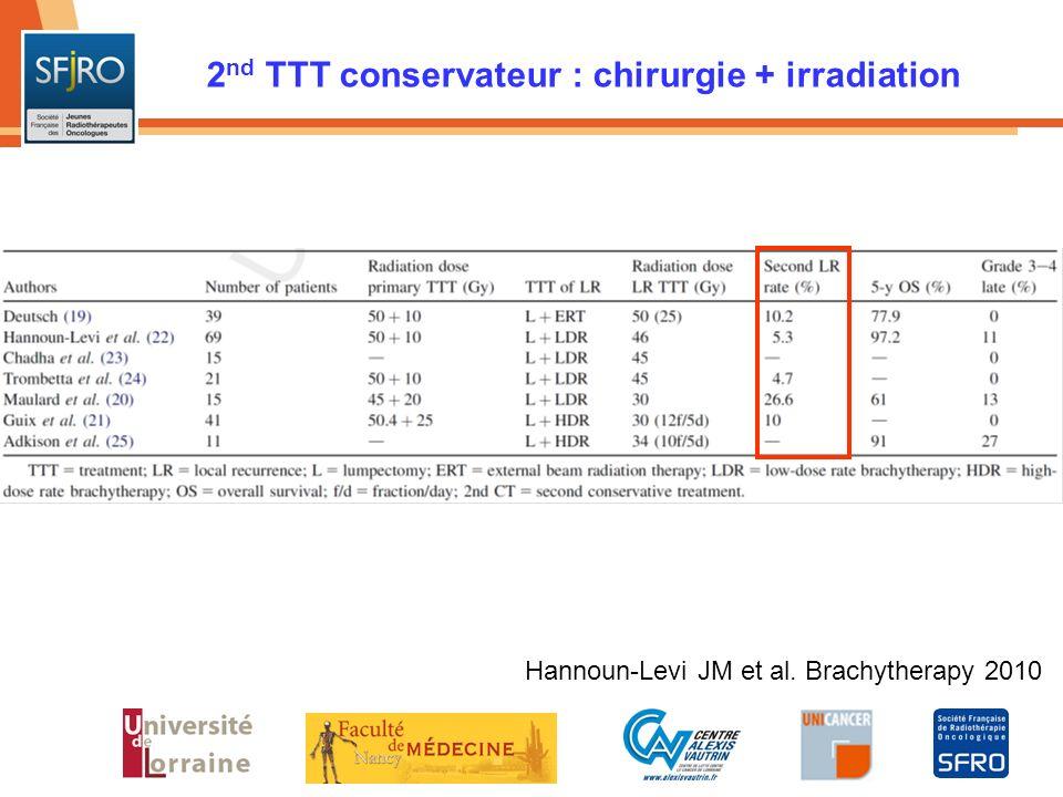 2 nd TTT conservateur : chirurgie + irradiation Hannoun-Levi JM et al. Brachytherapy 2010