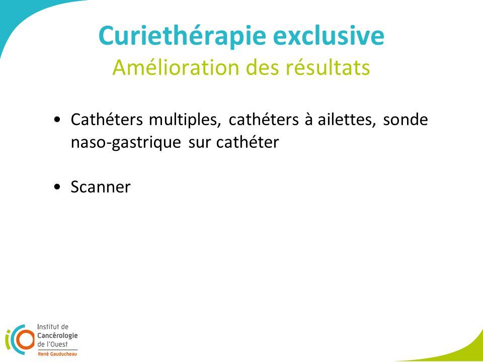 Curiethérapie exclusive Amélioration des résultats Cathéters multiples, cathéters à ailettes, sonde naso-gastrique sur cathéter Scanner