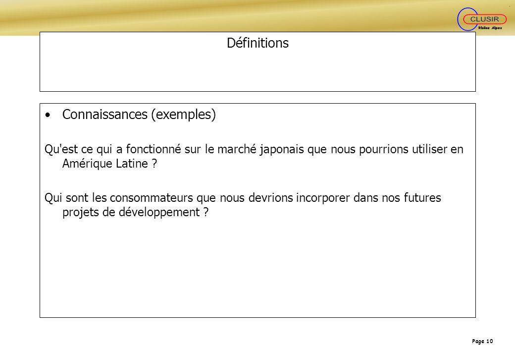 Page 10 Définitions Connaissances (exemples) Qu'est ce qui a fonctionné sur le marché japonais que nous pourrions utiliser en Amérique Latine ? Qui so