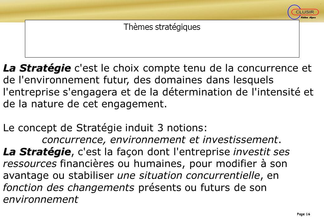 Page 16 Thèmes stratégiques La Stratégie La Stratégie c'est le choix compte tenu de la concurrence et de l'environnement futur, des domaines dans lesq