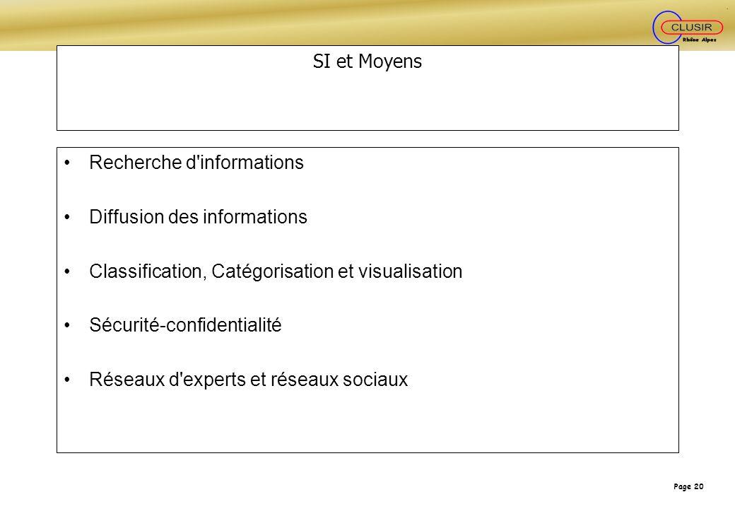 Page 20 SI et Moyens Recherche d'informations Diffusion des informations Classification, Catégorisation et visualisation Sécurité-confidentialité Rése
