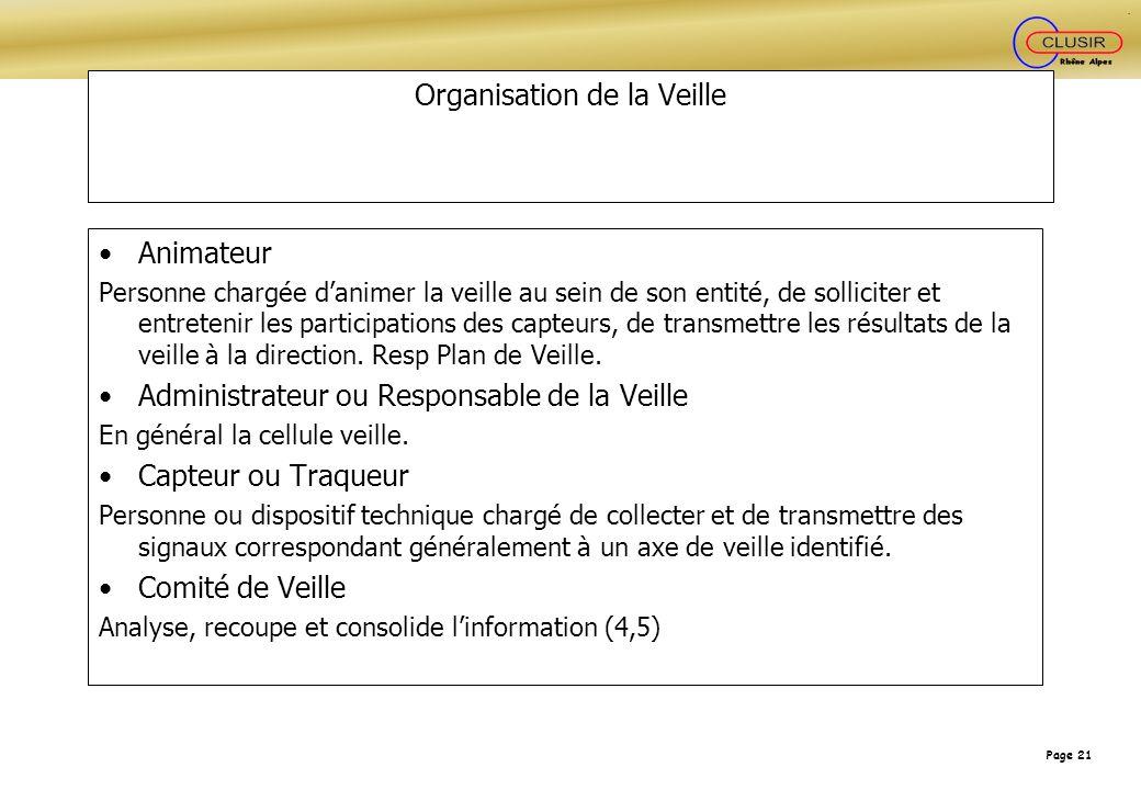 Page 21 Organisation de la Veille Animateur Personne chargée danimer la veille au sein de son entité, de solliciter et entretenir les participations d