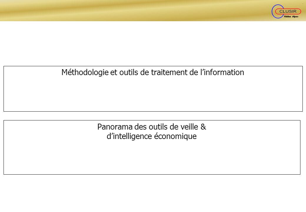 Méthodologie et outils de traitement de linformation Panorama des outils de veille & dintelligence économique