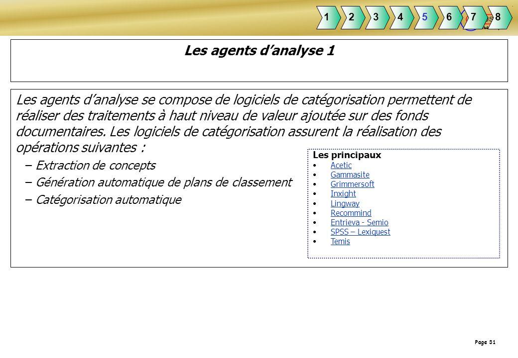 Page 31 Les agents danalyse 1 Les agents danalyse se compose de logiciels de catégorisation permettent de réaliser des traitements à haut niveau de va
