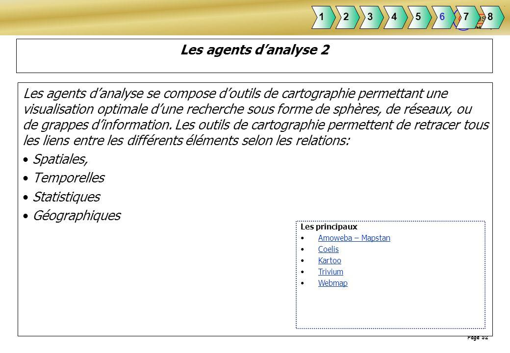 Page 32 Les agents danalyse 2 Les agents danalyse se compose doutils de cartographie permettant une visualisation optimale dune recherche sous forme d