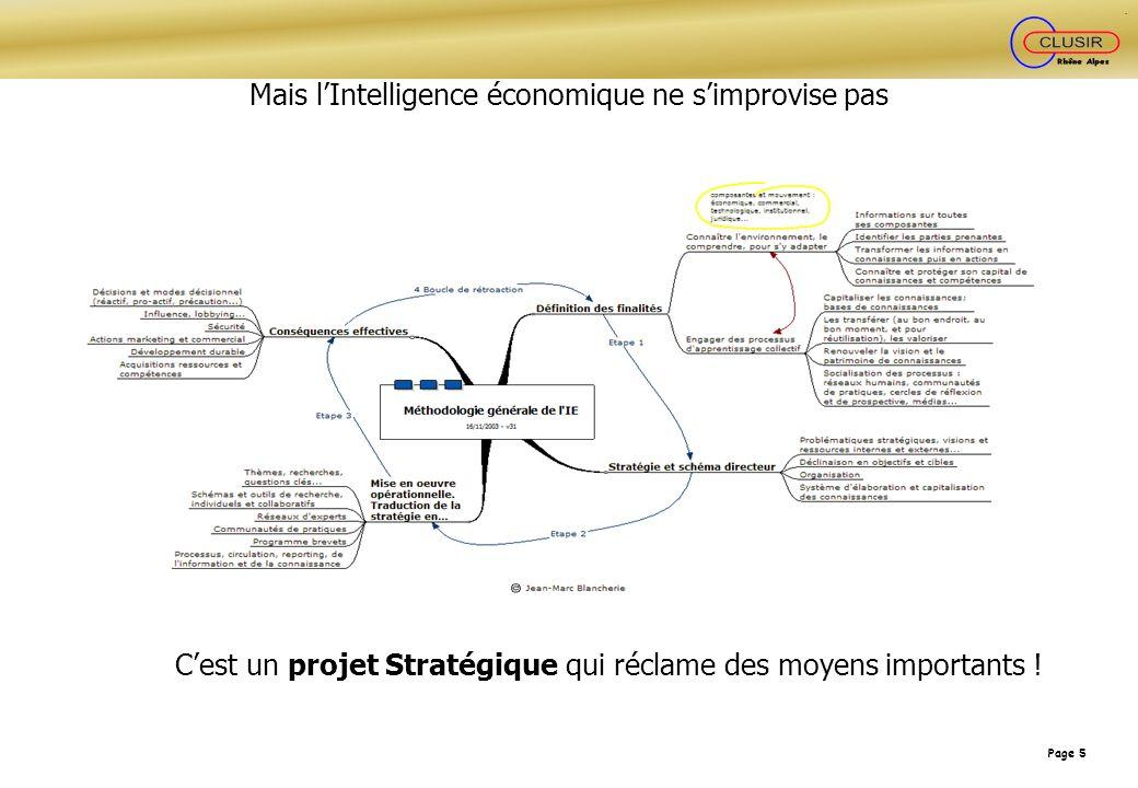 Page 5 Mais lIntelligence économique ne simprovise pas Cest un projet Stratégique qui réclame des moyens importants !