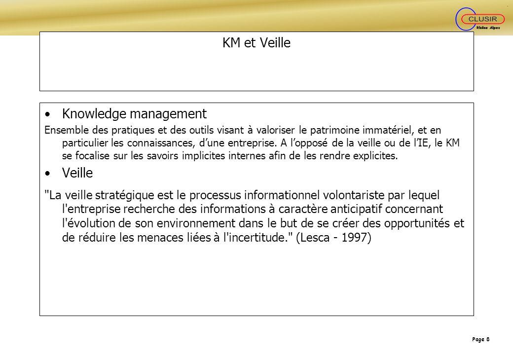 Page 8 KM et Veille Knowledge management Ensemble des pratiques et des outils visant à valoriser le patrimoine immatériel, et en particulier les conna