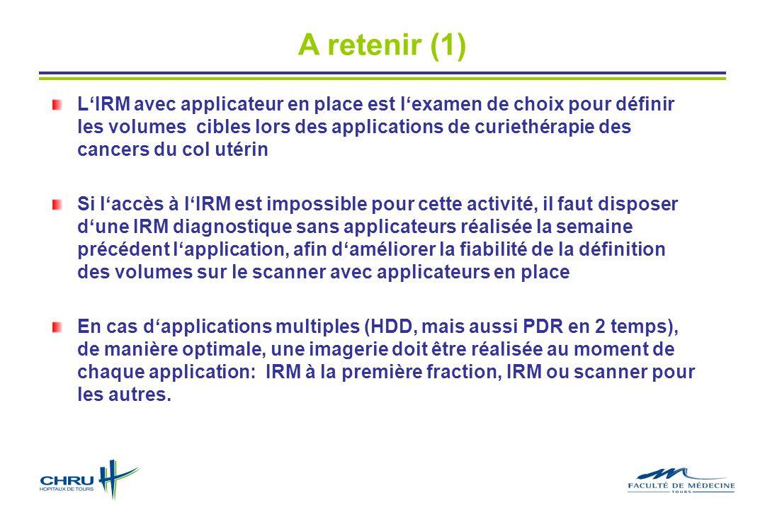 A retenir (1) LIRM avec applicateur en place est lexamen de choix pour définir les volumes cibles lors des applications de curiethérapie des cancers d