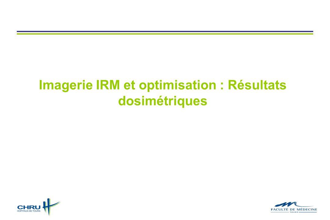 Imagerie IRM et optimisation : Résultats dosimétriques