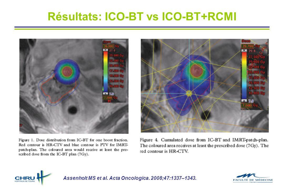 Résultats: ICO-BT vs ICO-BT+RCMI Assenholt MS et al. Acta Oncologica. 2008;47:1337–1343.