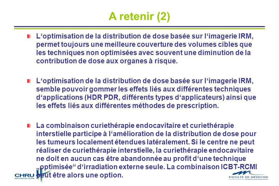 A retenir (2) Loptimisation de la distribution de dose basée sur limagerie IRM, permet toujours une meilleure couverture des volumes cibles que les techniques non optimisées avec souvent une diminution de la contribution de dose aux organes à risque.
