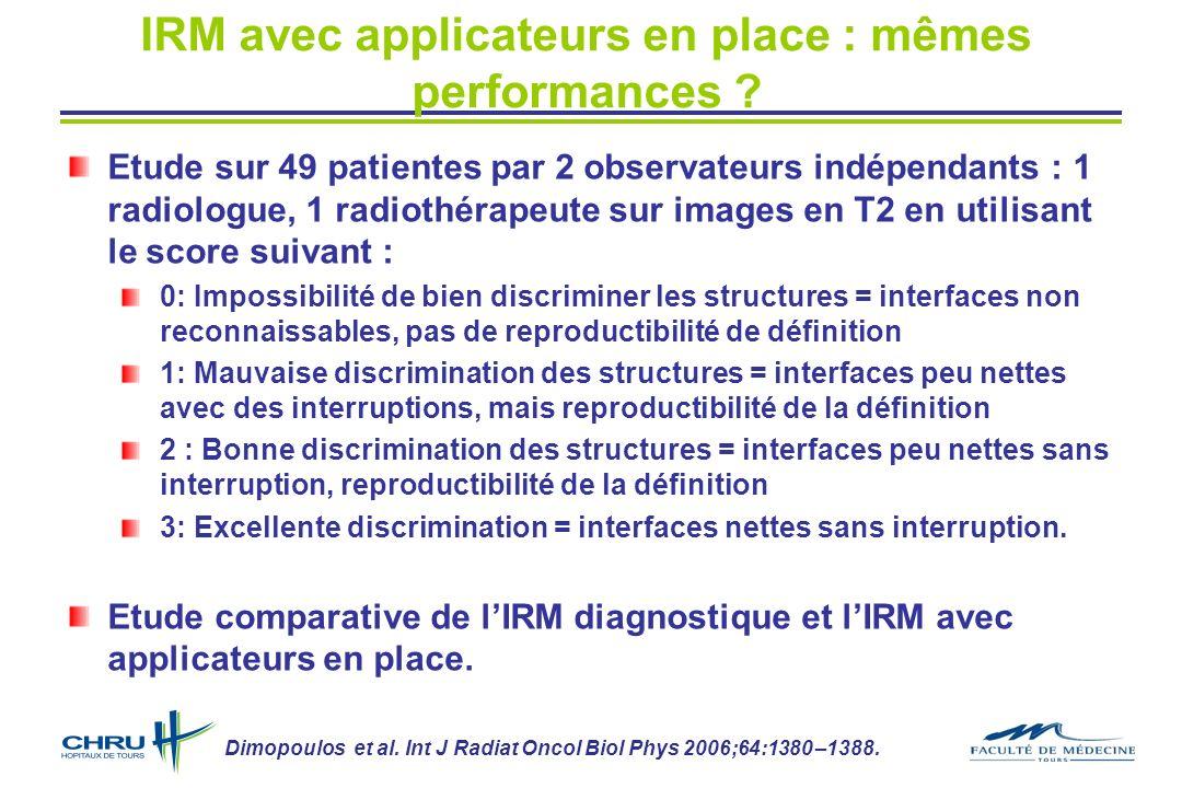 IRM avec applicateurs en place : mêmes performances ? Etude sur 49 patientes par 2 observateurs indépendants : 1 radiologue, 1 radiothérapeute sur ima
