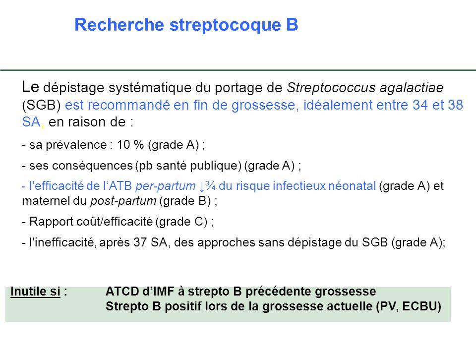 Le dépistage systématique du portage de Streptococcus agalactiae (SGB) est recommandé en fin de grossesse, idéalement entre 34 et 38 SA, en raison de