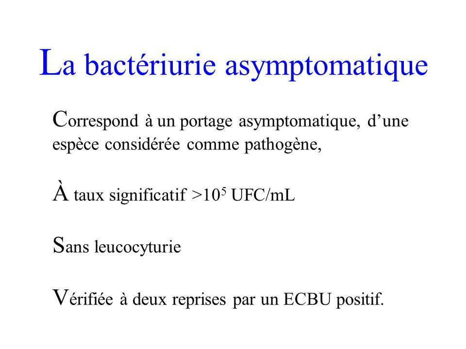 L a bactériurie asymptomatique C orrespond à un portage asymptomatique, dune espèce considérée comme pathogène, À taux significatif >10 5 UFC/mL S ans