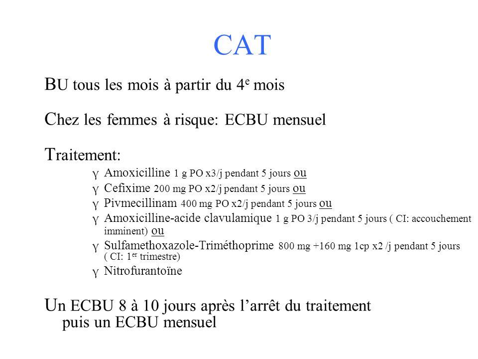 CAT B U tous les mois à partir du 4 e mois C hez les femmes à risque: ECBU mensuel T raitement: γ Amoxicilline 1 g PO x3/j pendant 5 jours ou γ Cefixi