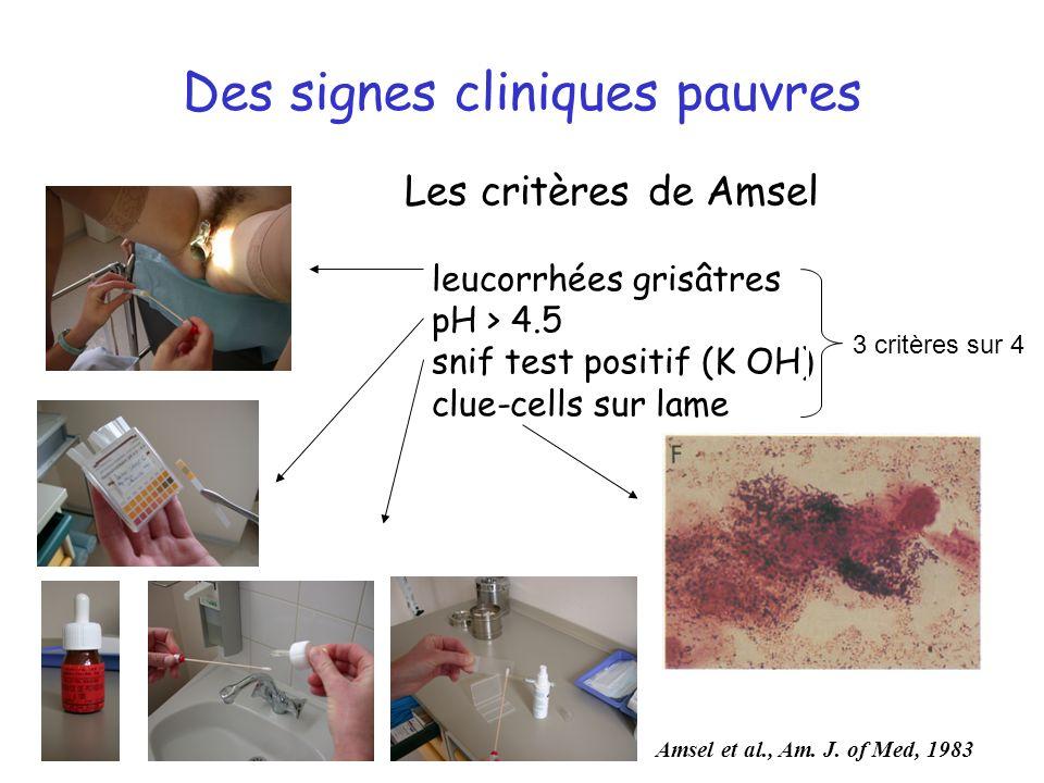 Des signes cliniques pauvres Les critères de Amsel leucorrhées grisâtres pH > 4.5 snif test positif (K OH) clue-cells sur lame 3 critères sur 4 Amsel