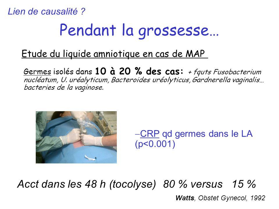 Pendant la grossesse… Etude du liquide amniotique en cas de MAP Germes isolés dans 10 à 20 % des cas: + fquts Fusobacterium nucléatum, U. uréalyticum,