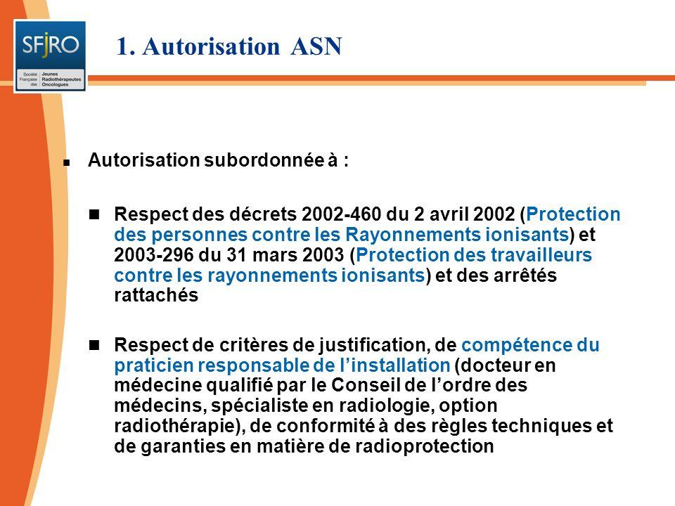 Titulaire = 1 radiothérapeute Signatures : directeur, titulaire et PCR 1. Autorisation ASN