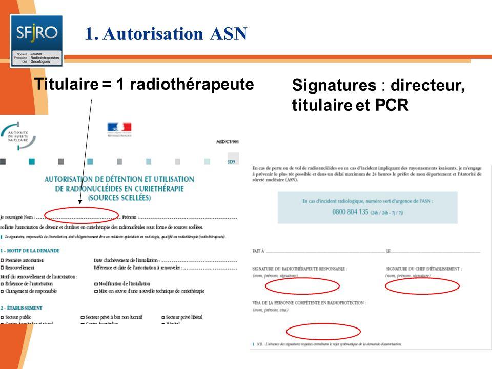 Délivrance dune autorisation globale pour la curiethérapie Autorisation pour une activité maximale : par projecteur, par type de sources 1.