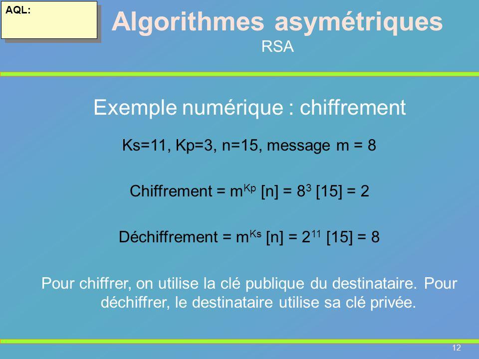 12 AQL: Algorithmes asymétriques RSA Exemple numérique : chiffrement Ks=11, Kp=3, n=15, message m = 8 Chiffrement = m Kp [n] = 8 3 [15] = 2 Déchiffrem