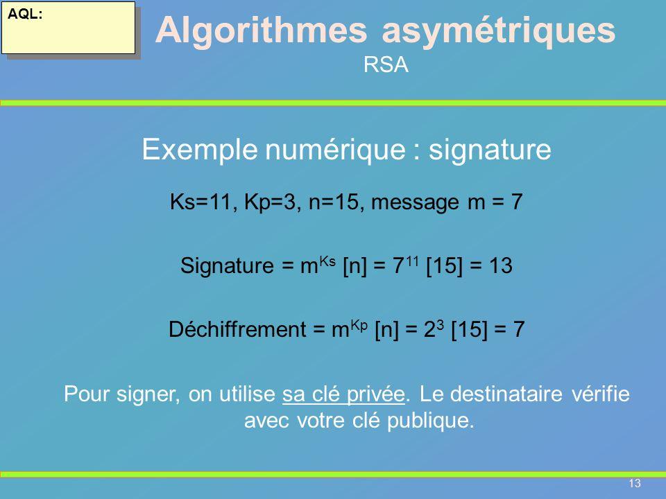 13 AQL: Algorithmes asymétriques RSA Exemple numérique : signature Ks=11, Kp=3, n=15, message m = 7 Signature = m Ks [n] = 7 11 [15] = 13 Déchiffremen