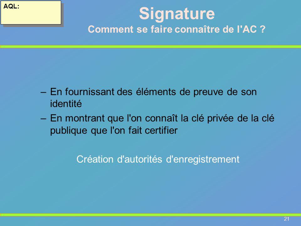 21 AQL: –En fournissant des éléments de preuve de son identité –En montrant que l'on connaît la clé privée de la clé publique que l'on fait certifier