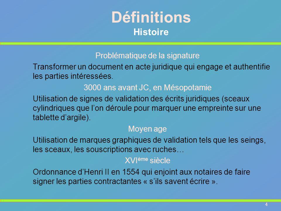 4 Problématique de la signature Transformer un document en acte juridique qui engage et authentifie les parties intéressées. 3000 ans avant JC, en Més