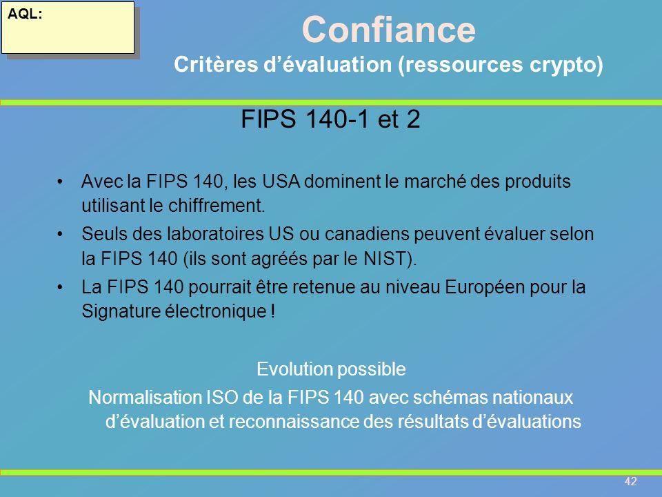 42 AQL: Confiance Critères dévaluation (ressources crypto) FIPS 140-1 et 2 Avec la FIPS 140, les USA dominent le marché des produits utilisant le chif