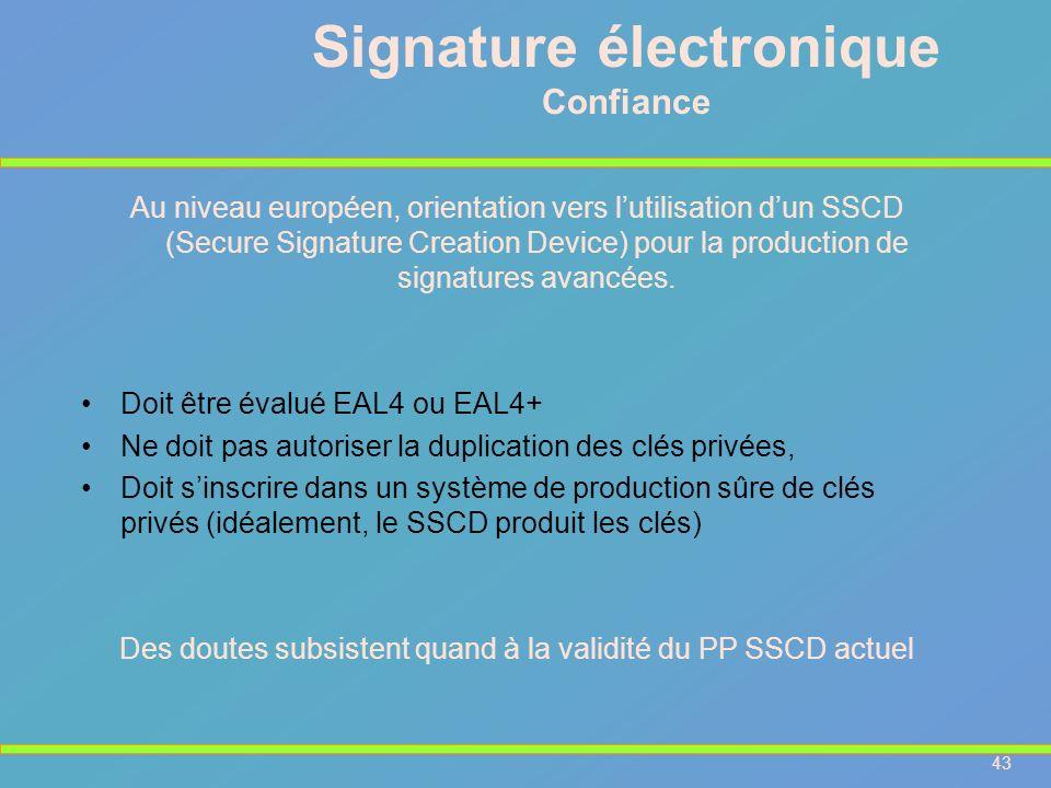 43 Signature électronique Confiance Au niveau européen, orientation vers lutilisation dun SSCD (Secure Signature Creation Device) pour la production d