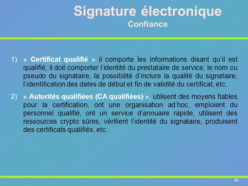 46 Signature électronique Confiance 1)« Certificat qualifié » il comporte les informations disant quil est qualifié, il doit comporter lidentité du pr