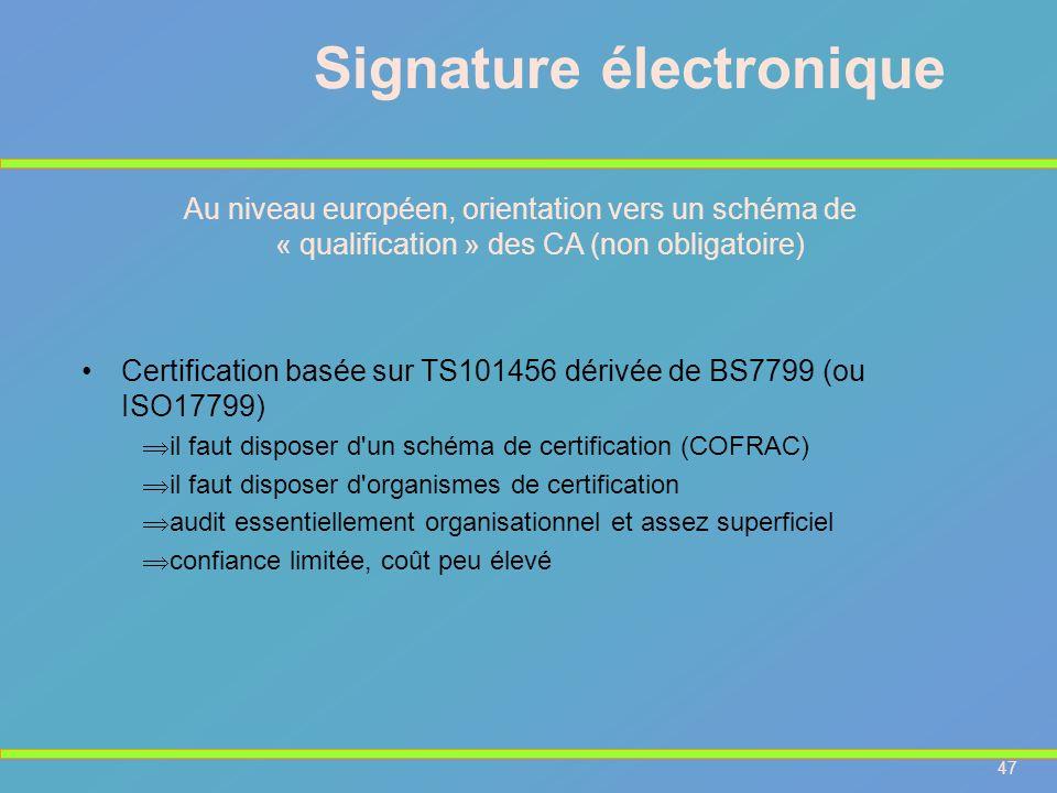 47 Signature électronique Au niveau européen, orientation vers un schéma de « qualification » des CA (non obligatoire) Certification basée sur TS10145