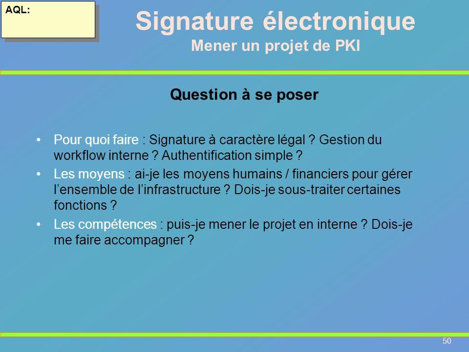 50 AQL: Signature électronique Mener un projet de PKI Pour quoi faire : Signature à caractère légal ? Gestion du workflow interne ? Authentification s