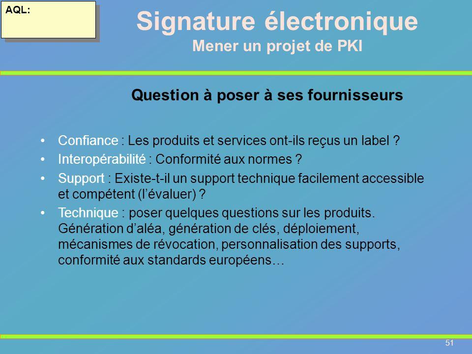 51 AQL: Signature électronique Mener un projet de PKI Confiance : Les produits et services ont-ils reçus un label ? Interopérabilité : Conformité aux