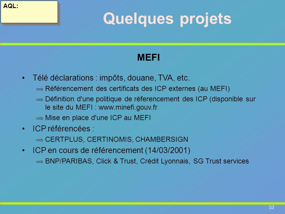 52 AQL: Quelques projets Télé déclarations : impôts, douane, TVA, etc. Référencement des certificats des ICP externes (au MEFI) Définition d'une polit