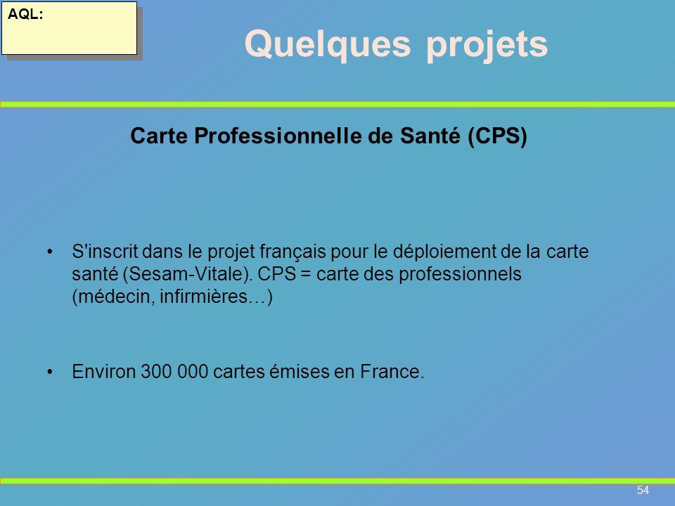 54 AQL: Quelques projets S'inscrit dans le projet français pour le déploiement de la carte santé (Sesam-Vitale). CPS = carte des professionnels (médec