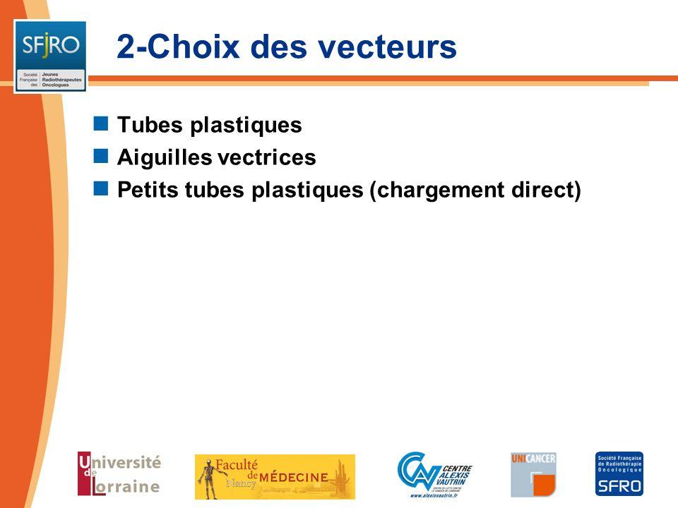 2-Choix des vecteurs Tubes plastiques Aiguilles vectrices Petits tubes plastiques (chargement direct)