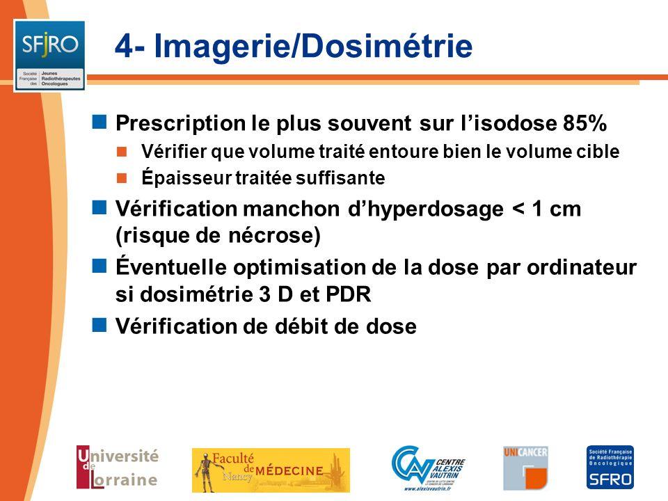 4- Imagerie/Dosimétrie Prescription le plus souvent sur lisodose 85% Vérifier que volume traité entoure bien le volume cible Épaisseur traitée suffisa