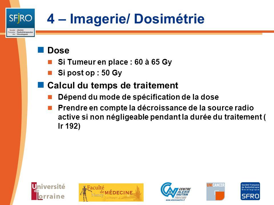 4 – Imagerie/ Dosimétrie Dose Si Tumeur en place : 60 à 65 Gy Si post op : 50 Gy Calcul du temps de traitement Dépend du mode de spécification de la d