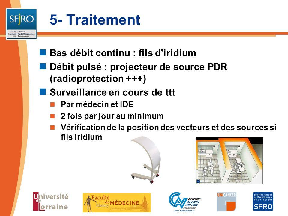 5- Traitement Bas débit continu : fils diridium Débit pulsé : projecteur de source PDR (radioprotection +++) Surveillance en cours de ttt Par médecin