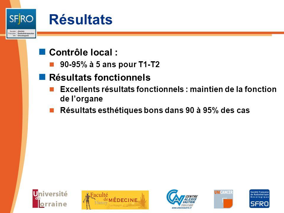 Résultats Contrôle local : 90-95% à 5 ans pour T1-T2 Résultats fonctionnels Excellents résultats fonctionnels : maintien de la fonction de lorgane Rés