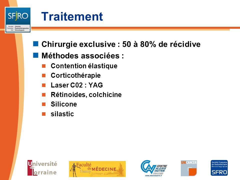 Traitement Chirurgie exclusive : 50 à 80% de récidive Méthodes associées : Contention élastique Corticothérapie Laser C02 : YAG Rétinoides, colchicine