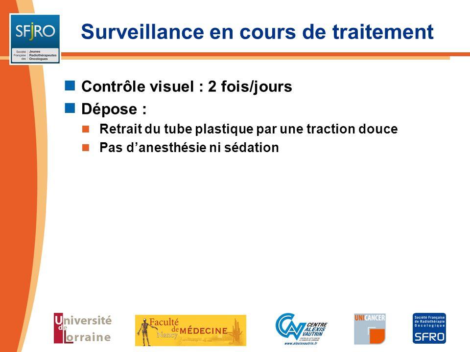 Surveillance en cours de traitement Contrôle visuel : 2 fois/jours Dépose : Retrait du tube plastique par une traction douce Pas danesthésie ni sédati