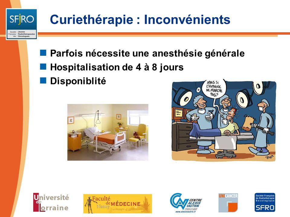 Curiethérapie : Inconvénients Parfois nécessite une anesthésie générale Hospitalisation de 4 à 8 jours Disponiblité