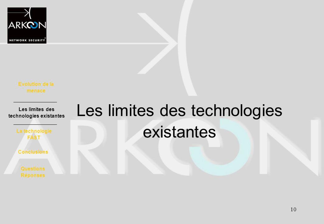10 Les limites des technologies existantes Evolution de la menace La technologie FAST Les limites des technologies existantes Conclusions Questions Ré