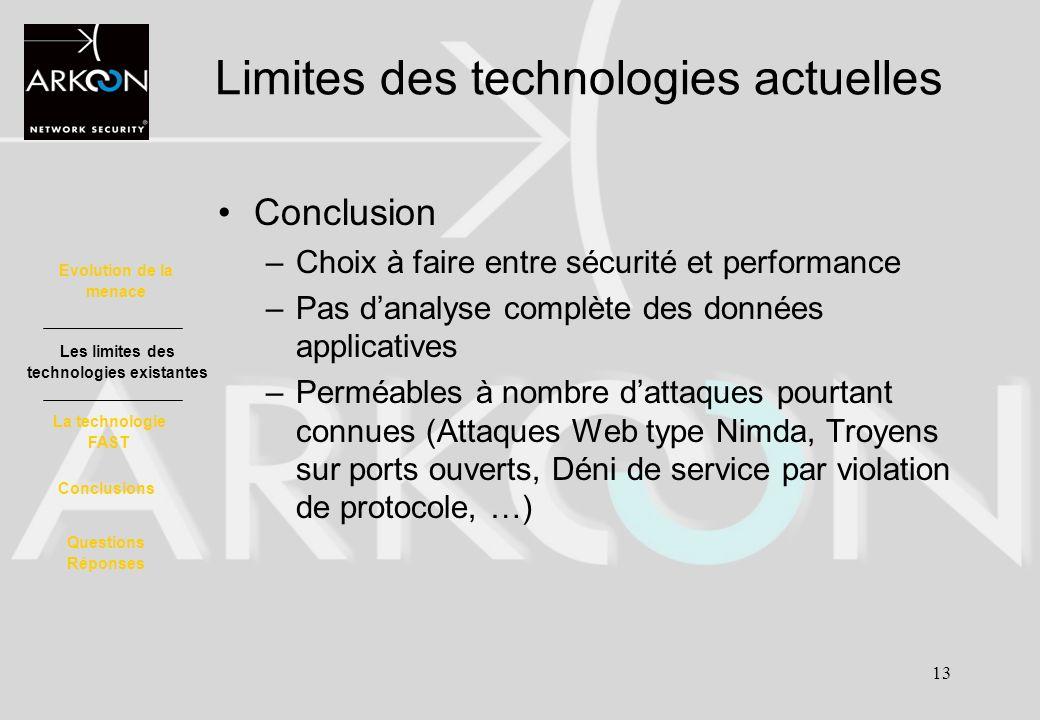 13 Limites des technologies actuelles Conclusion –Choix à faire entre sécurité et performance –Pas danalyse complète des données applicatives –Perméab