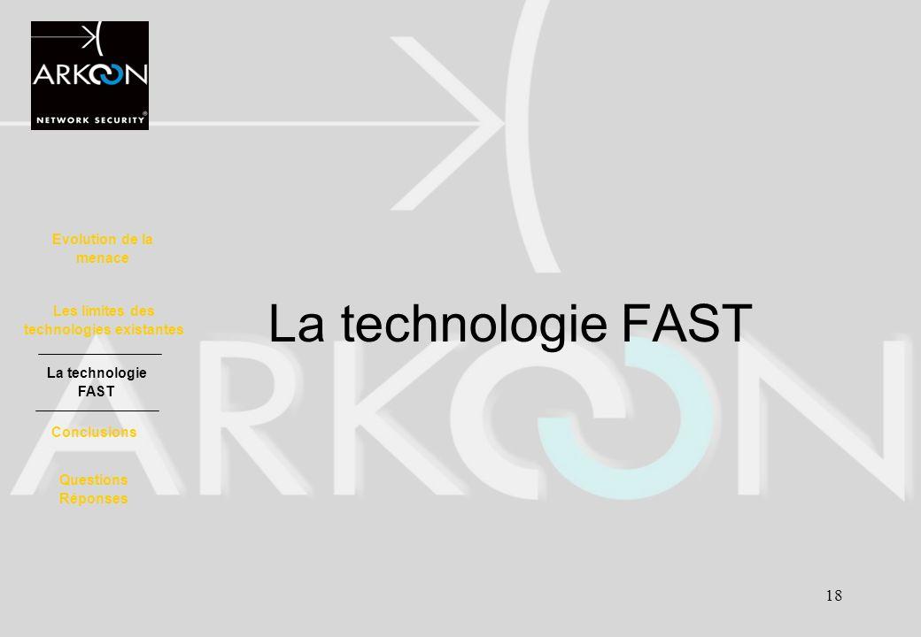18 La technologie FAST Evolution de la menace La technologie FAST Les limites des technologies existantes Conclusions Questions Réponses