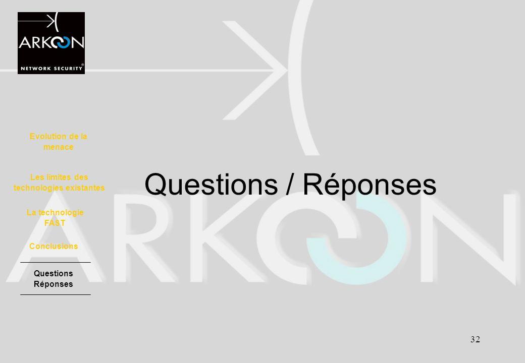 32 Questions / Réponses Evolution de la menace La technologie FAST Les limites des technologies existantes Conclusions Questions Réponses